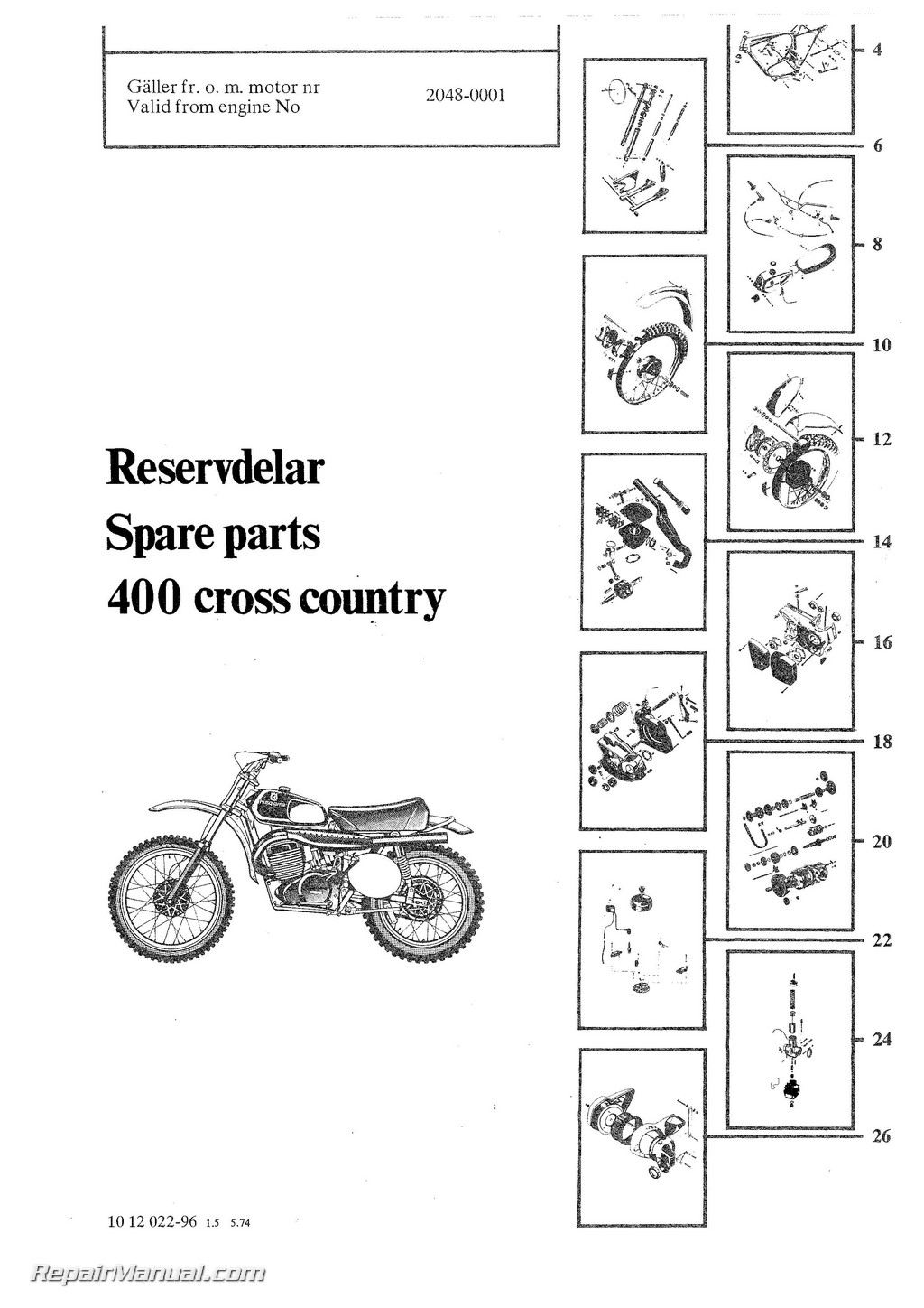 1974-1975 Husqvarna 400 WR Motorcycle Parts Manual