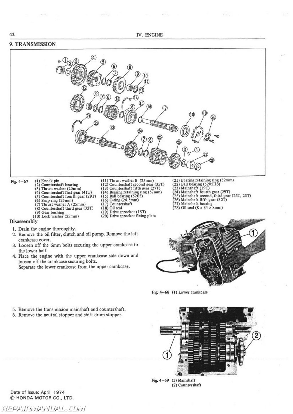 1975-1976 Honda CB500T Motorcycle Service Manual : 6137501