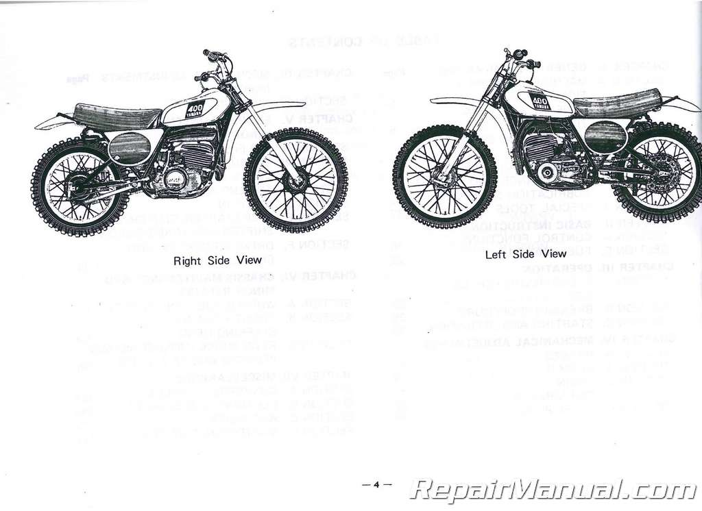 1975 Yamaha MX400B Motorcycle Owners Service Manual