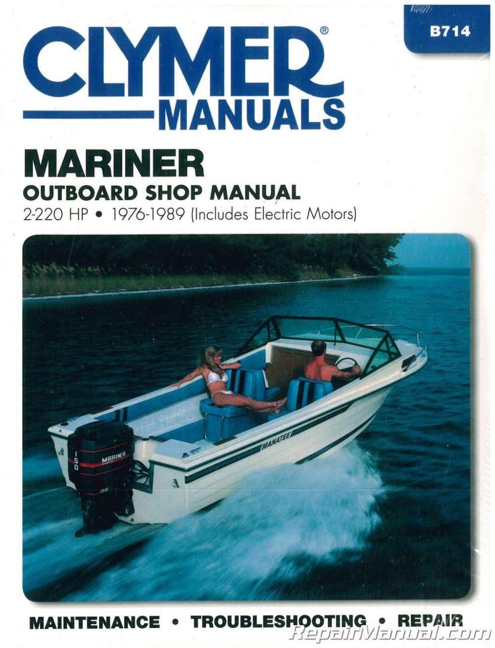 medium resolution of 1976 1989 mariner 2 220 hp outboard boat engine repair manual