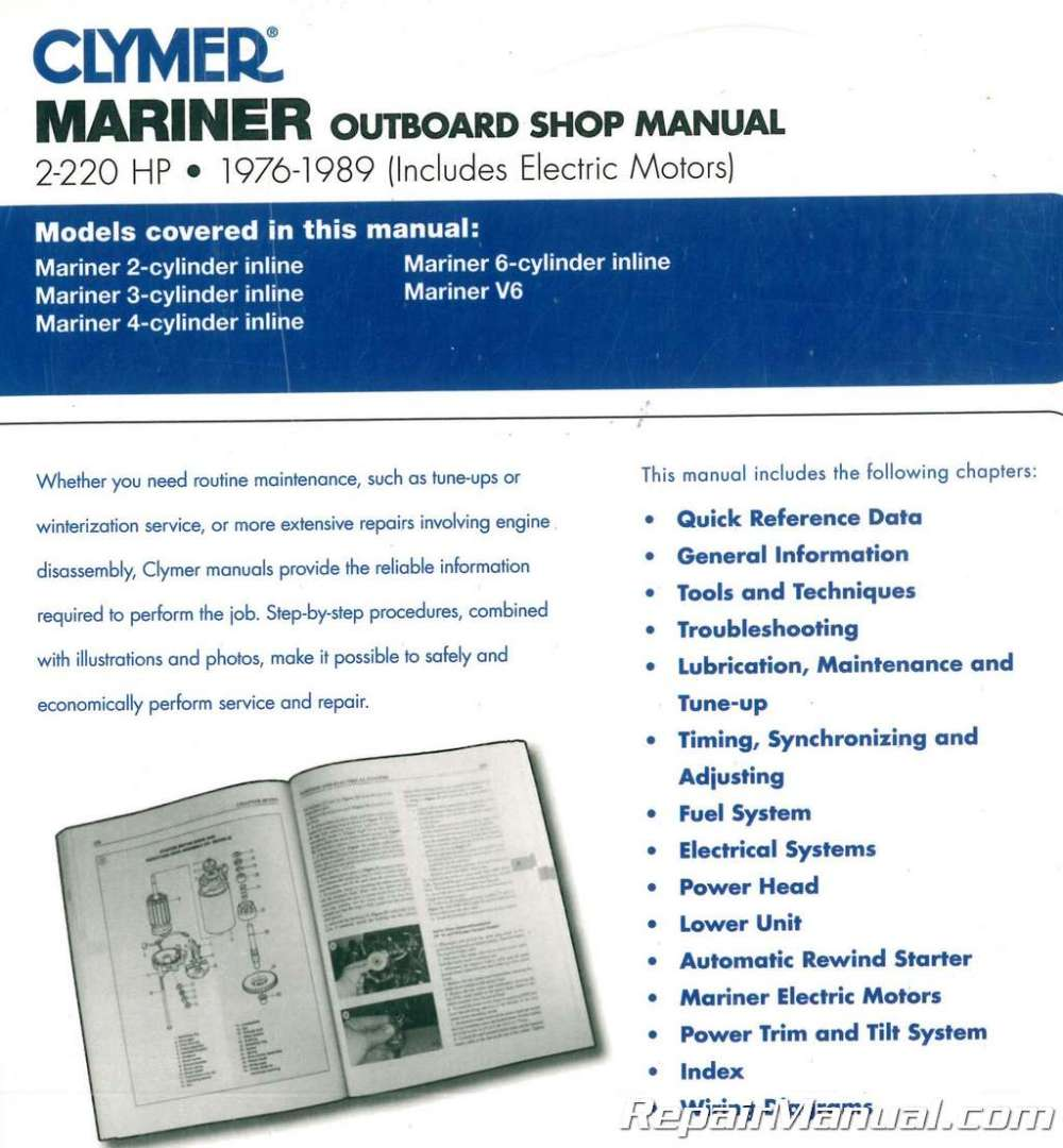medium resolution of  wiring diagram 1976 1989 mariner 2 220 hp outboard boat engine repair manual on mariner 70