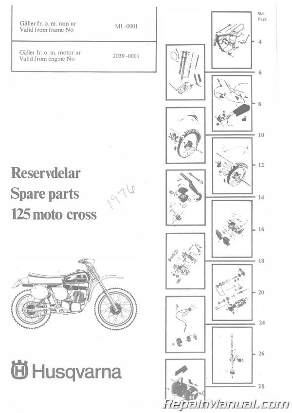 1976 Husqvarna 125 CR GP Motorcycle Parts Manual