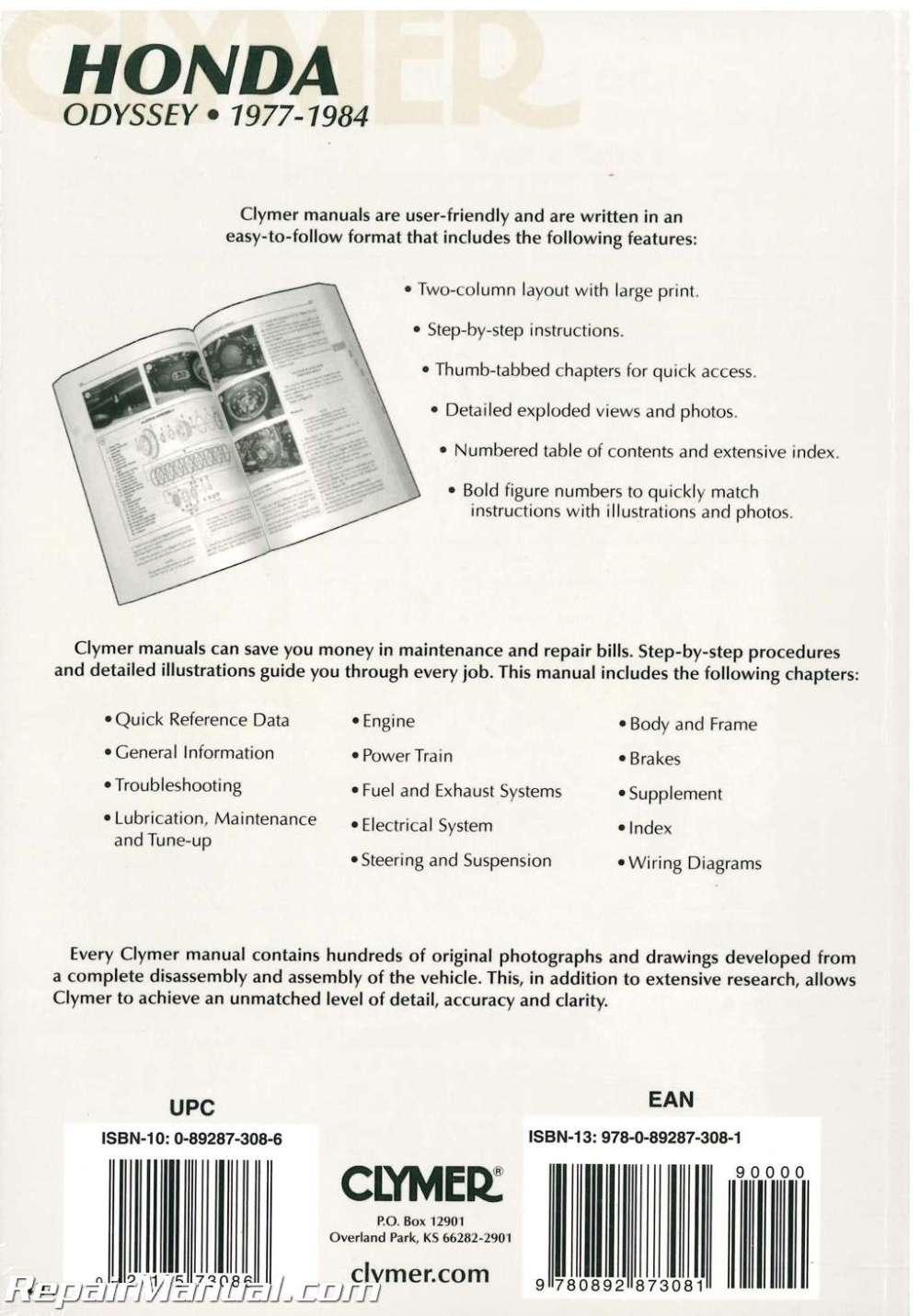 medium resolution of  1977 1984 honda odyssey fl250 repair manual by