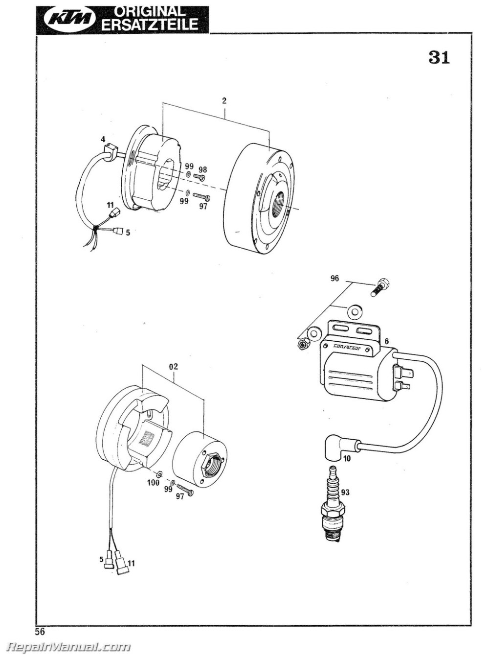 medium resolution of 1978 1979 ktm 125 175 240 250 340 400 motorcycle engine spare parts manual