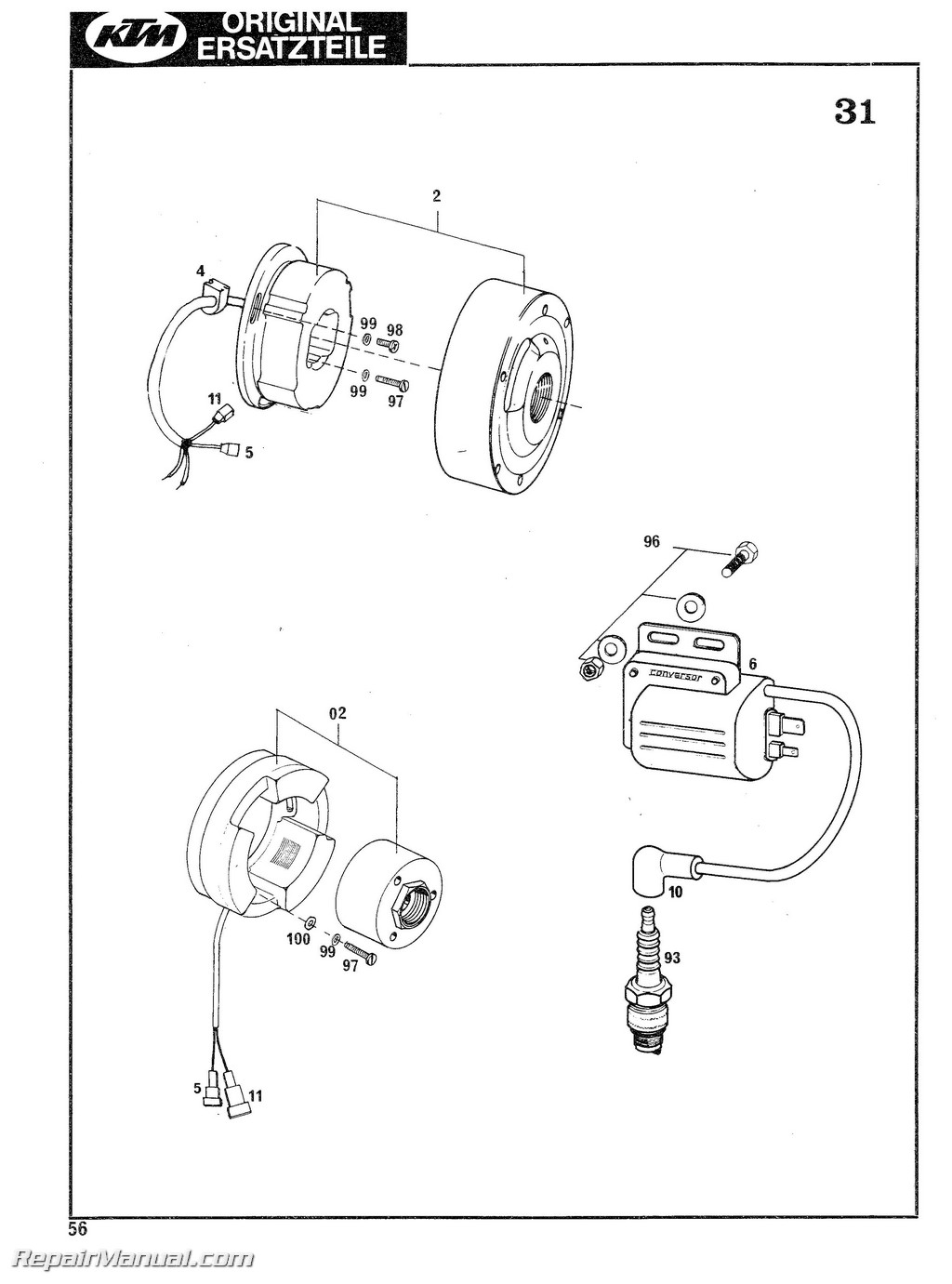 hight resolution of 1978 1979 ktm 125 175 240 250 340 400 motorcycle engine spare parts manual