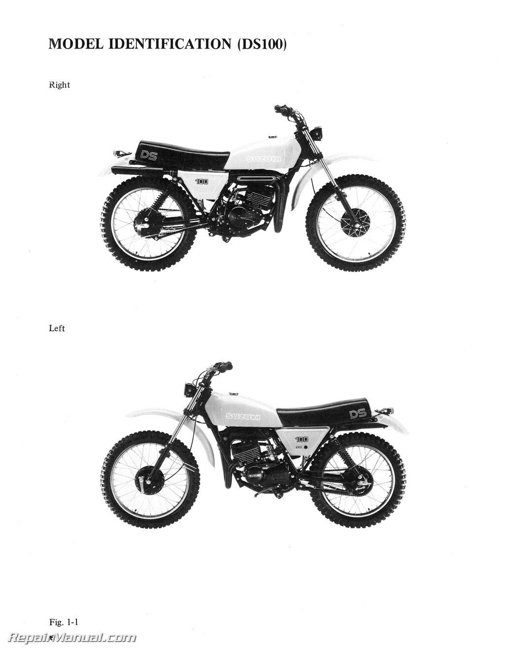 1978-1981 Suzuki DS100 DS125 Motorcycle Service Manual