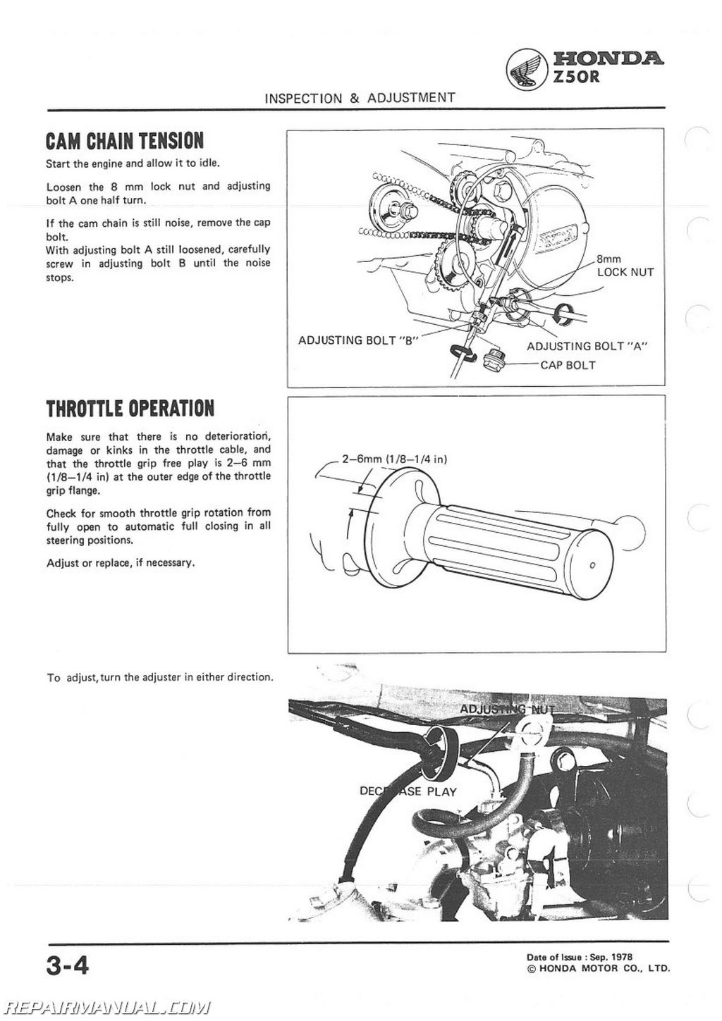1979-1987 Honda Z50R Motorcycle Service Manual