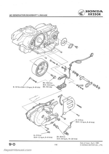 1981-1982 Honda XR250R Motorcycle Service Manual