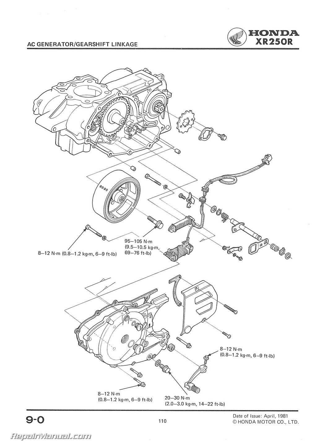1981-1982 Honda XR250R Motorcycle Service Manual
