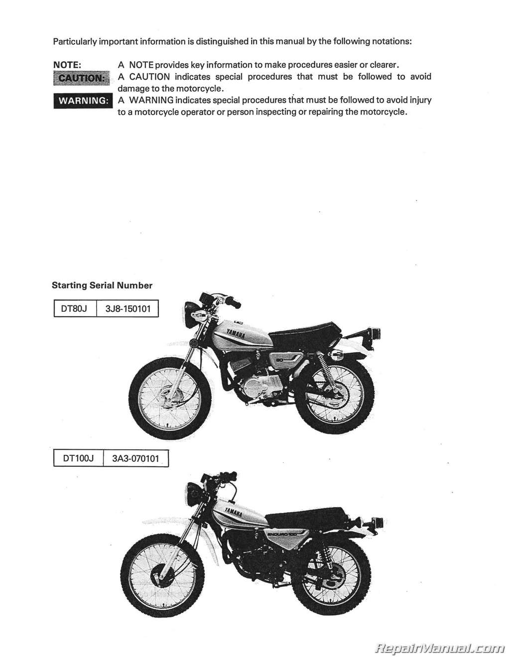 hight resolution of 1977 1983 yamaha dt80 gt80 gtmxe dt100 motorcycle service manual