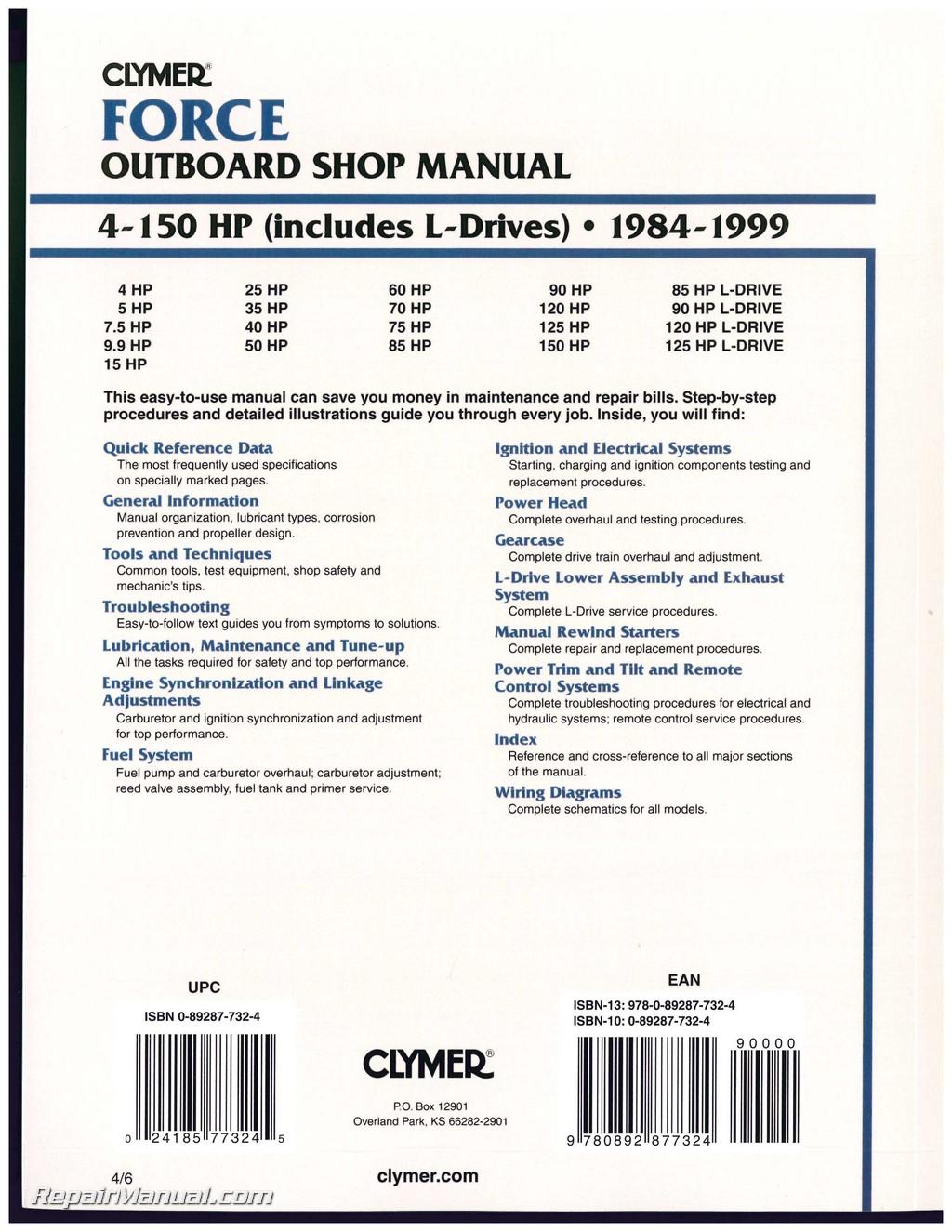 boat motor repair manual online motorssite org rh motorssite org 125 Force Outboard Hard Starting Force Outboard Motor Parts Diagram
