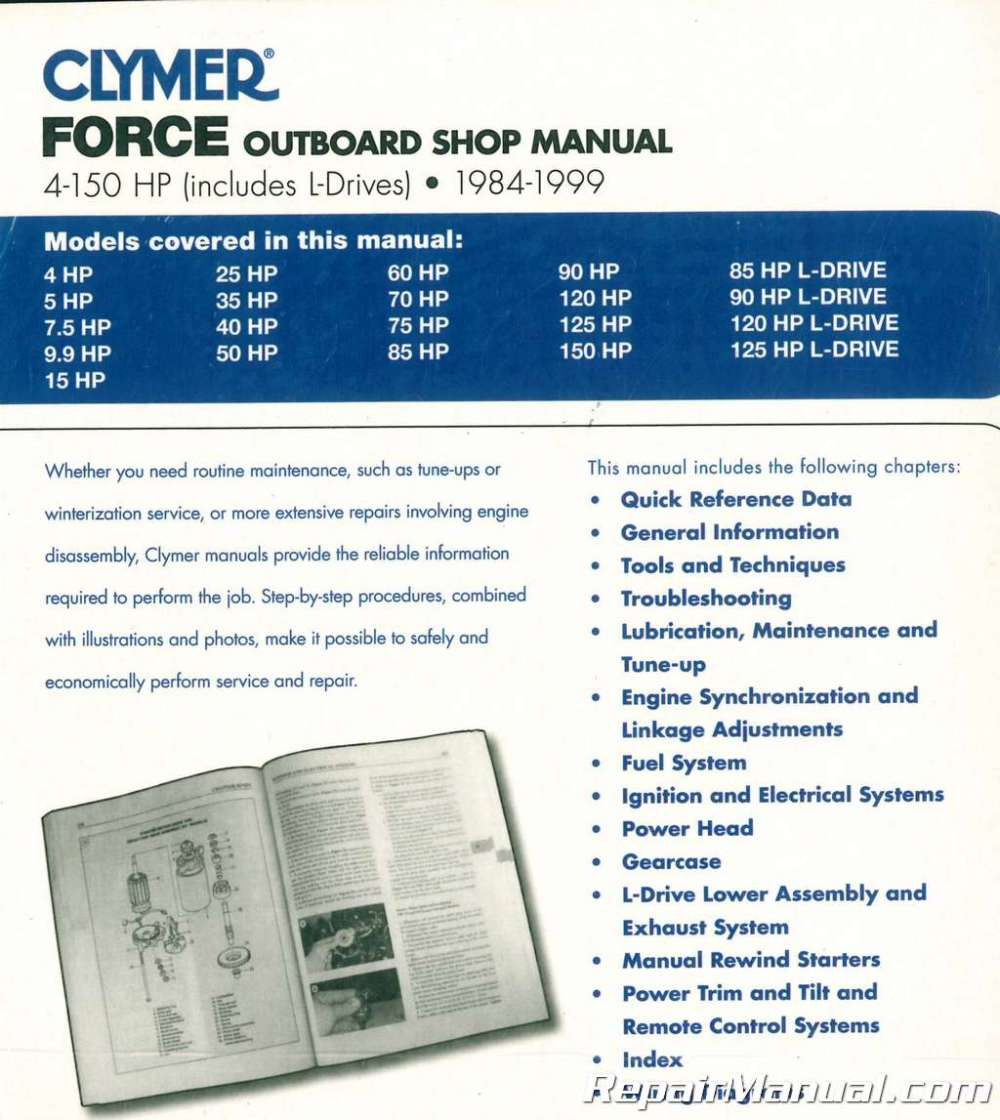medium resolution of 1984 1999 force 4 150 hp outboard boat engine repair manual marine force 125 weight 125