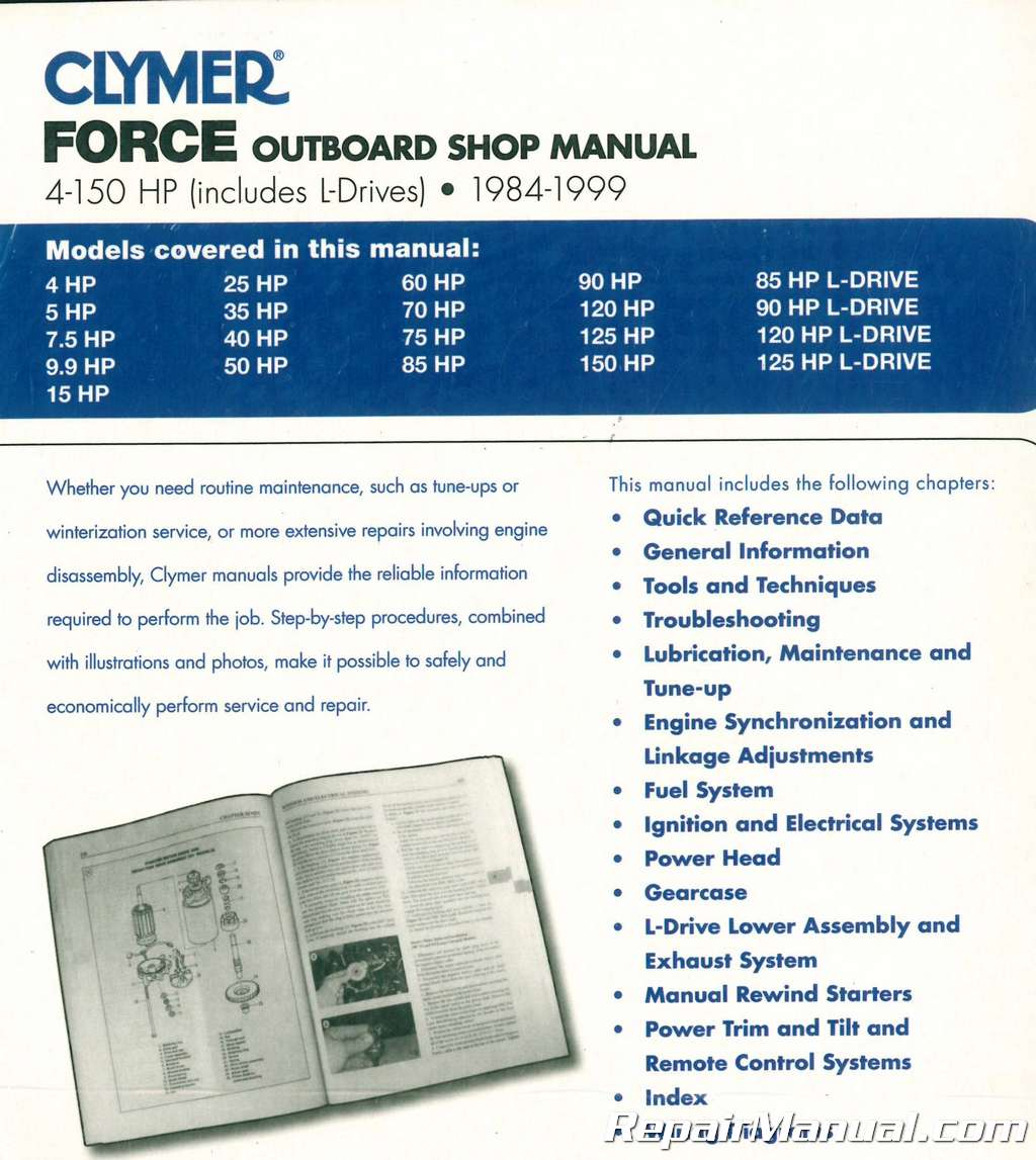 hight resolution of 1984 1999 force 4 150 hp outboard boat engine repair manual marine force 125 weight 125