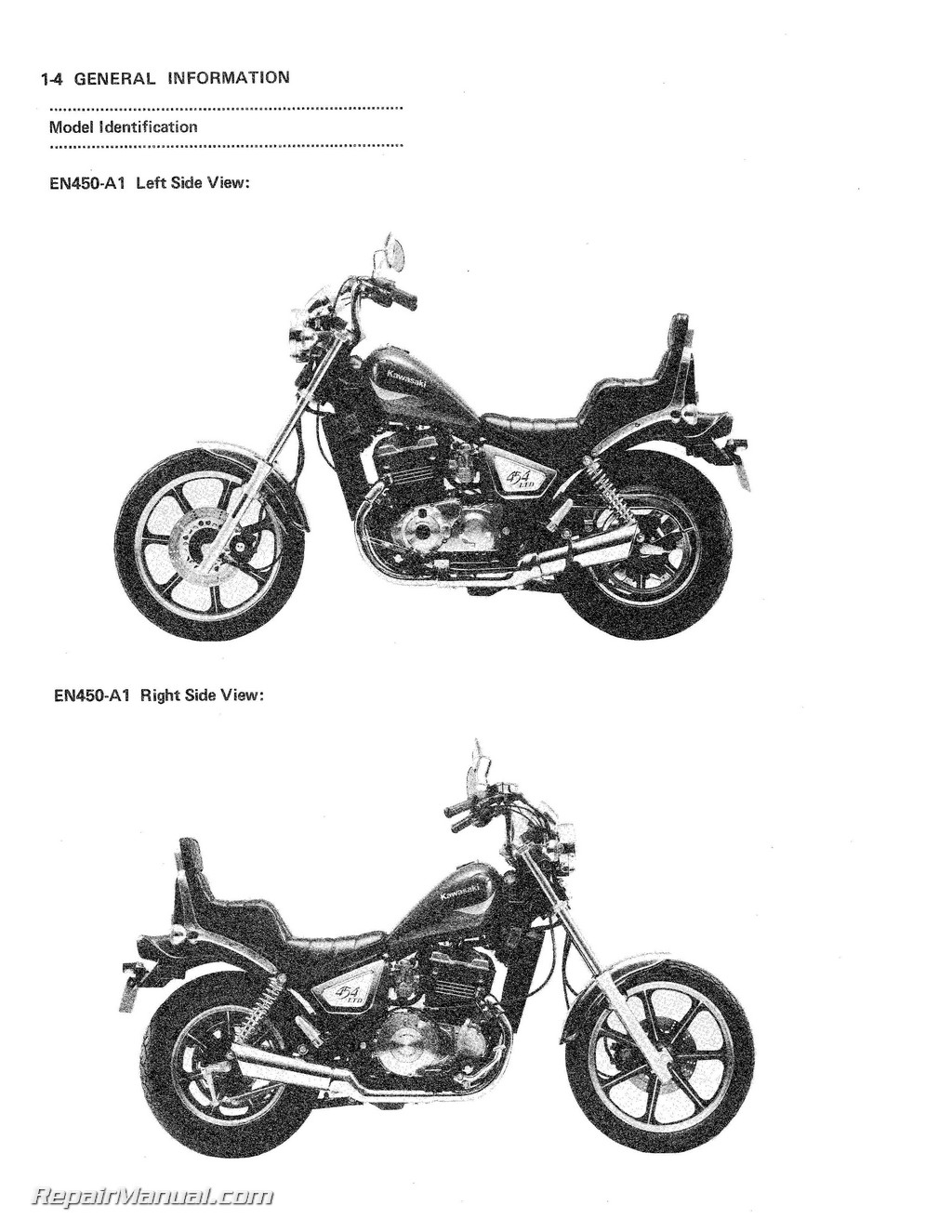 Kawasaki En450a1 454 Ltd Motorcycle Service Manual