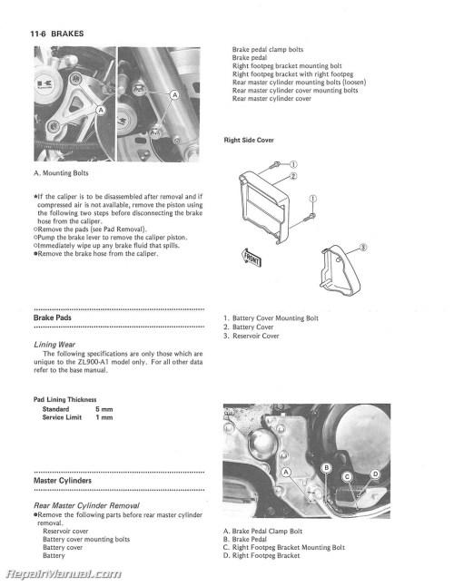 small resolution of 1985 1988 kawasaki zl900 zl1000 eliminator motorcycle service manual supplement