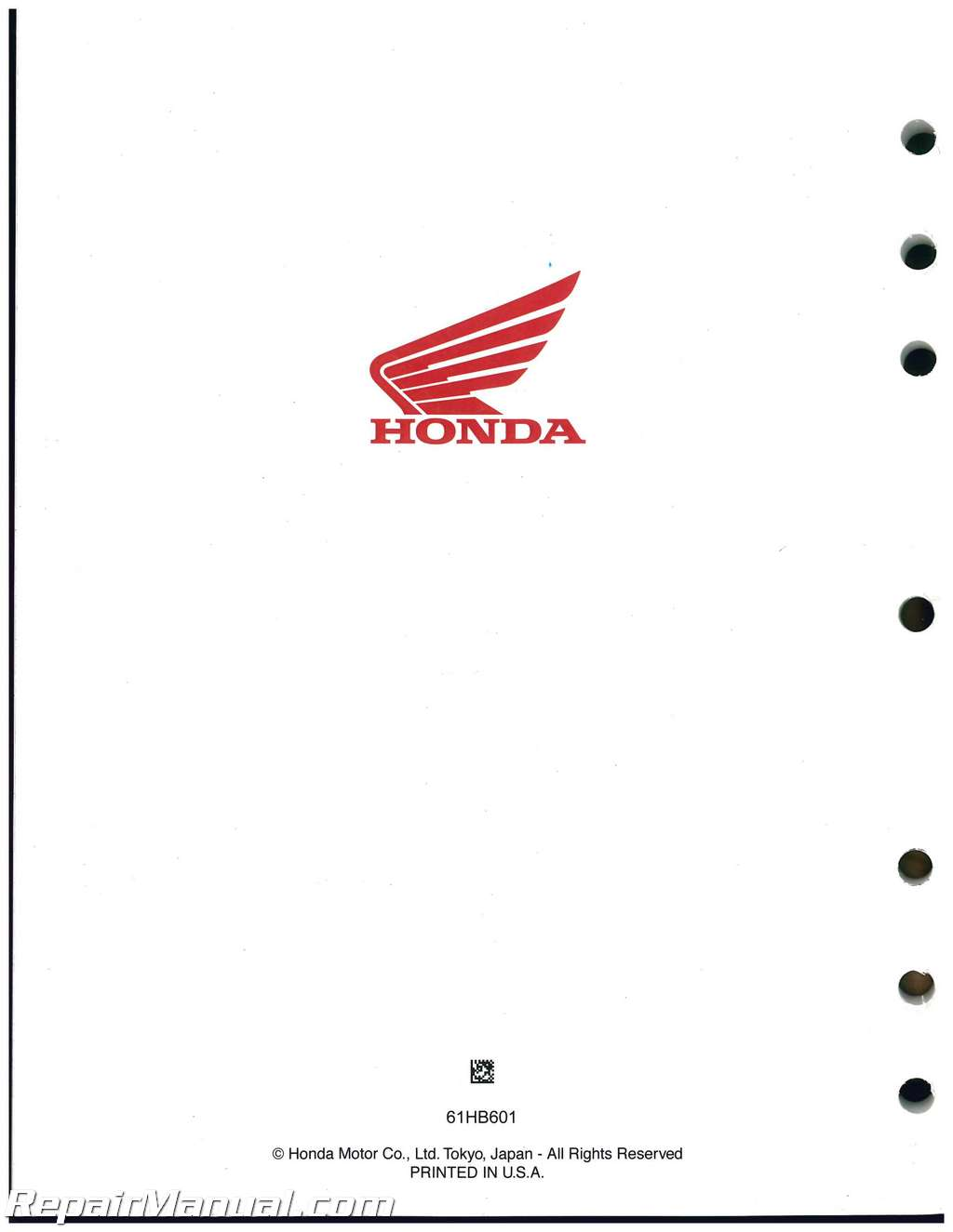 1986-1987 Honda ATC125M Three Wheeler Service Manual