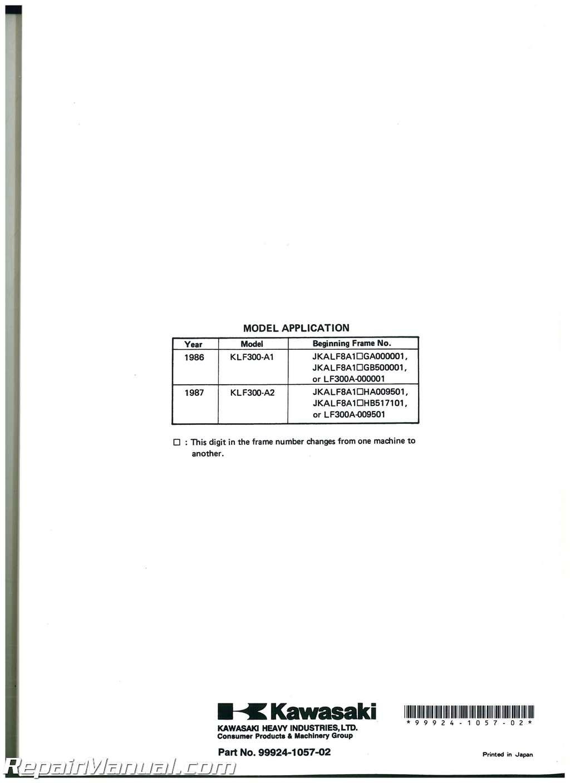 hight resolution of bayou models klf300 service repair 1987 kawasaki 300 owners manual workshop manuals x 2 use of cookies contact us yamaha service repair workshop manual