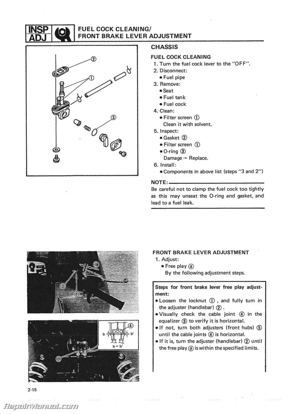medium resolution of 1986 1988 yamaha yfm225 moto 4 atv printed service manual yamaha virago 250 wiring diagram yamaha