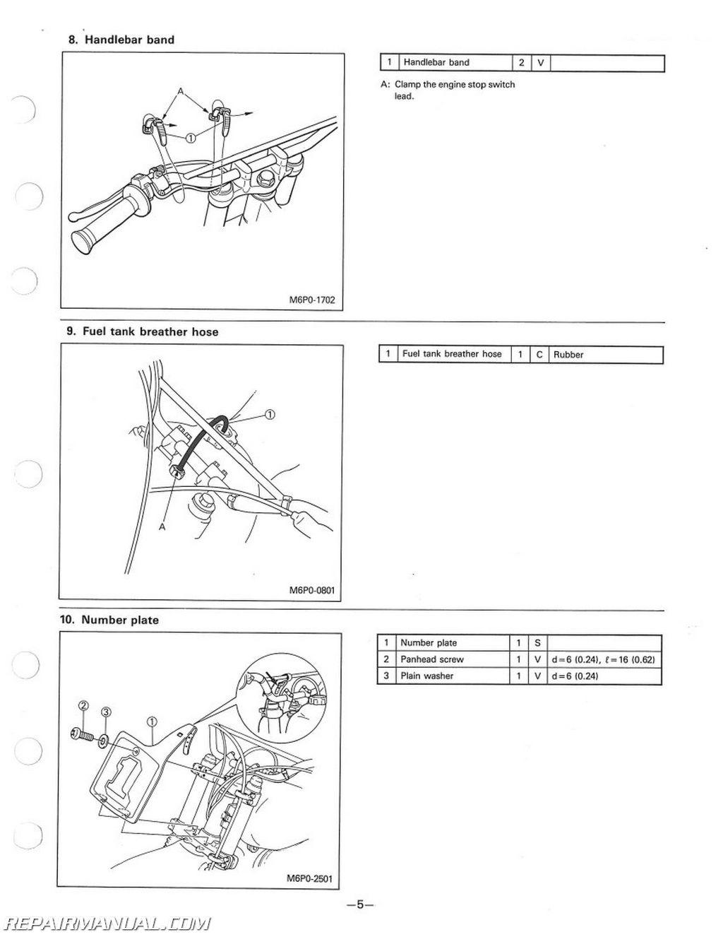 Yamaha Yz125s Yz250s Yz490s Assembly Manual