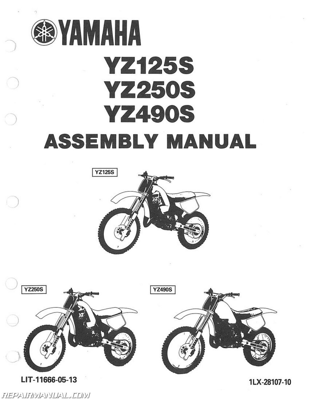 1986 Yamaha YZ125S YZ250S YZ490S Assembly Manual