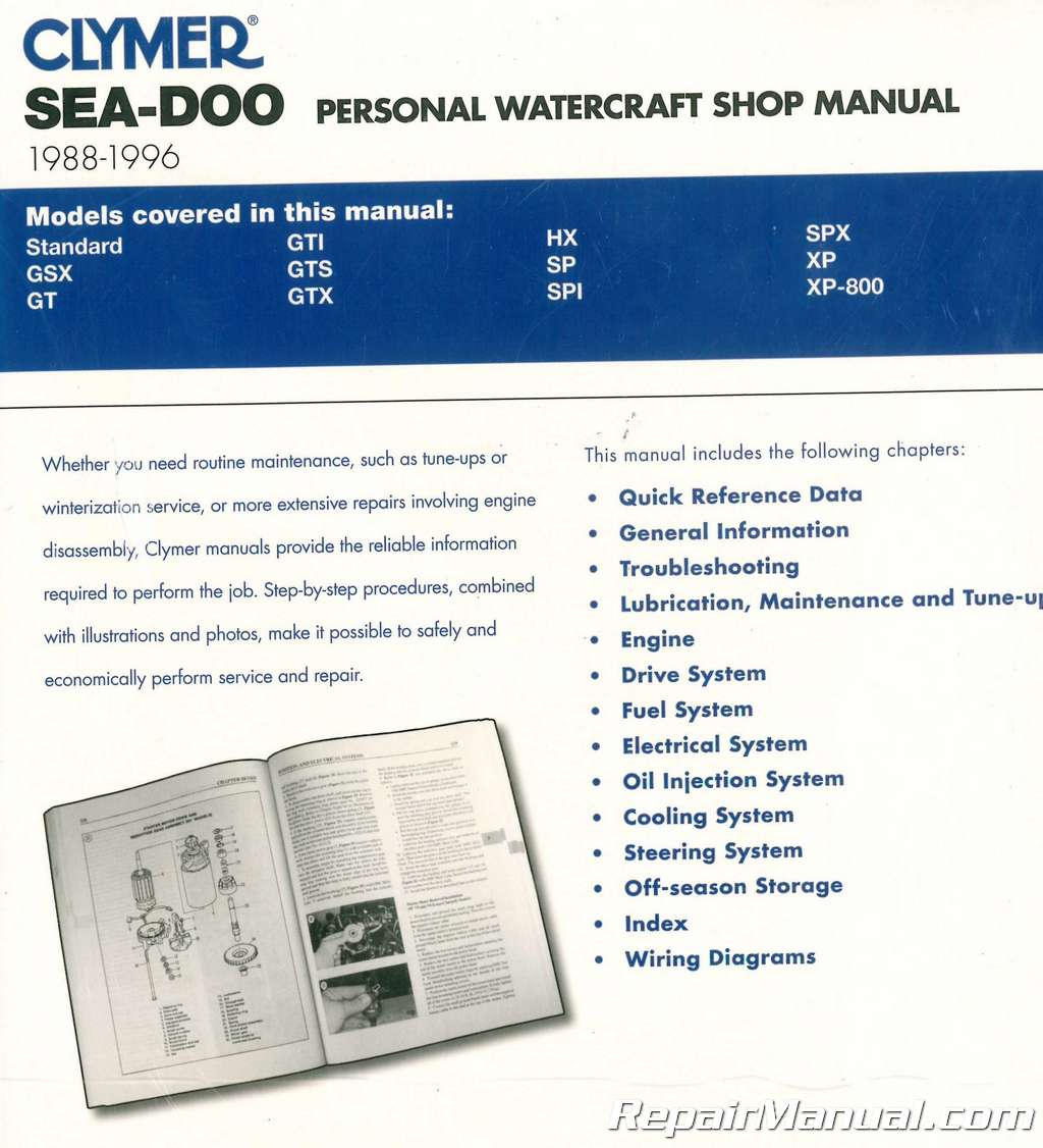 hight resolution of 1988 1996 clymer sea doo water vehicles service manual
