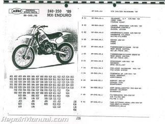 1989 KTM 240-250 MX-Enduro Motorcycle Parts Manual