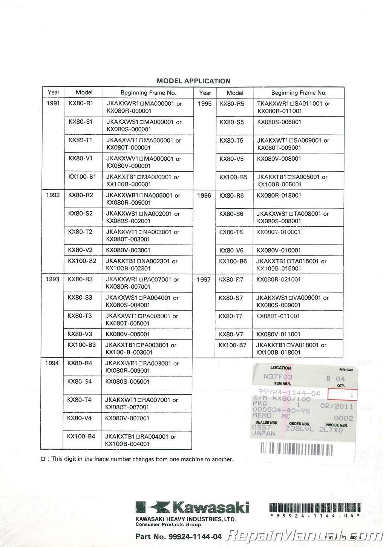 1991-1997 Kawasaki KX80 KX100 Service Manual