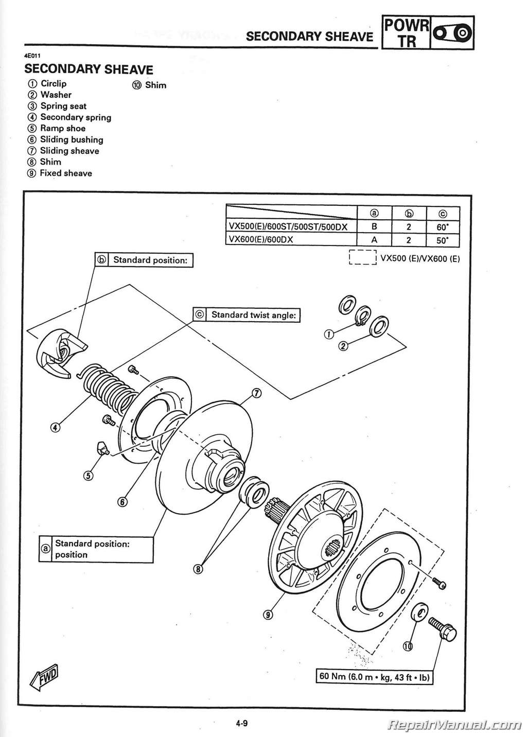 hight resolution of 1994 1996 yamaha v max 500 vx500 and v max 600 vx 600 snowmobile service manual