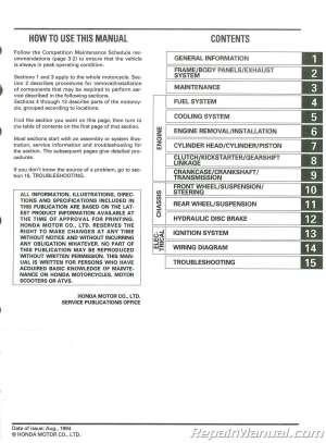 Used 1995 Honda CR80R Service Manual