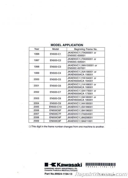 1996-2009 Kawasaki EN500C Vulcan LTD Motorcycle Service Manual