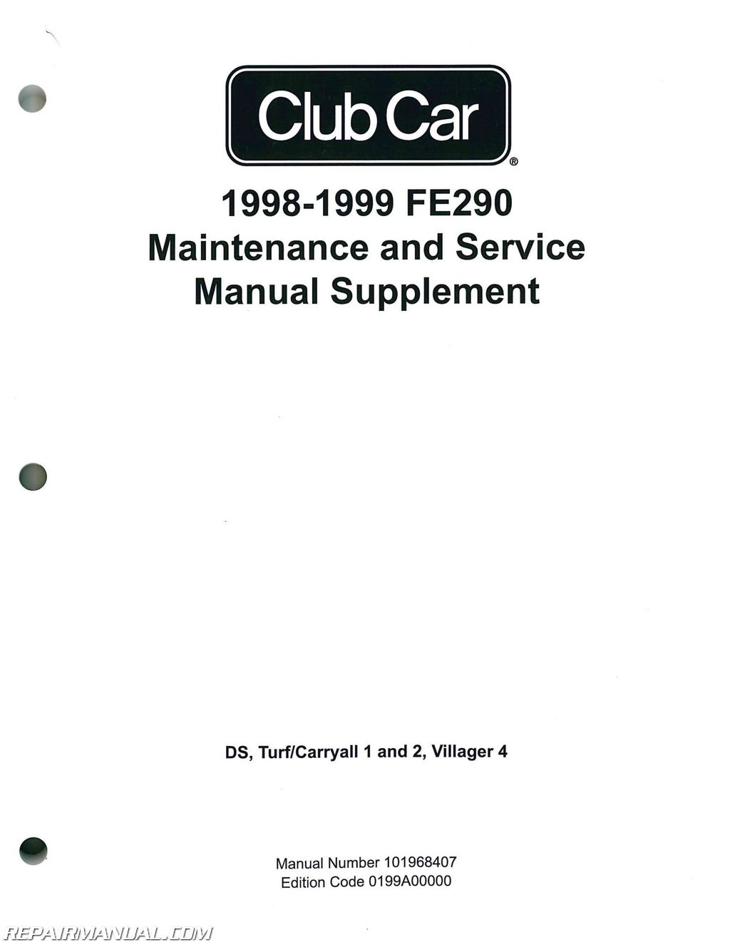 Club Car 1998 Maintenance And Service Manual Supplement