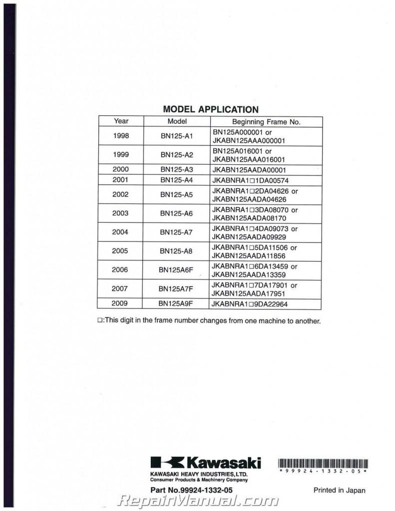 1998-2009 Kawasaki BN125A Eliminator Service Manual