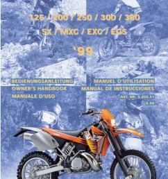 1999 ktm 125 200 250 300 380 sx mxc exc egs motorcycle owners manual [ 1024 x 1449 Pixel ]