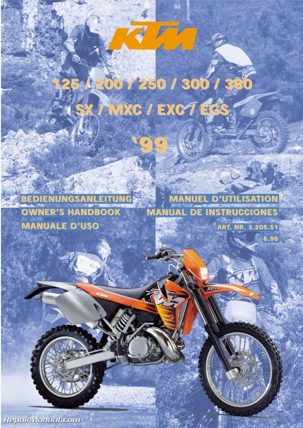 medium resolution of 1999 ktm 125 200 250 300 380 sx mxc exc egs motorcycle owners manual
