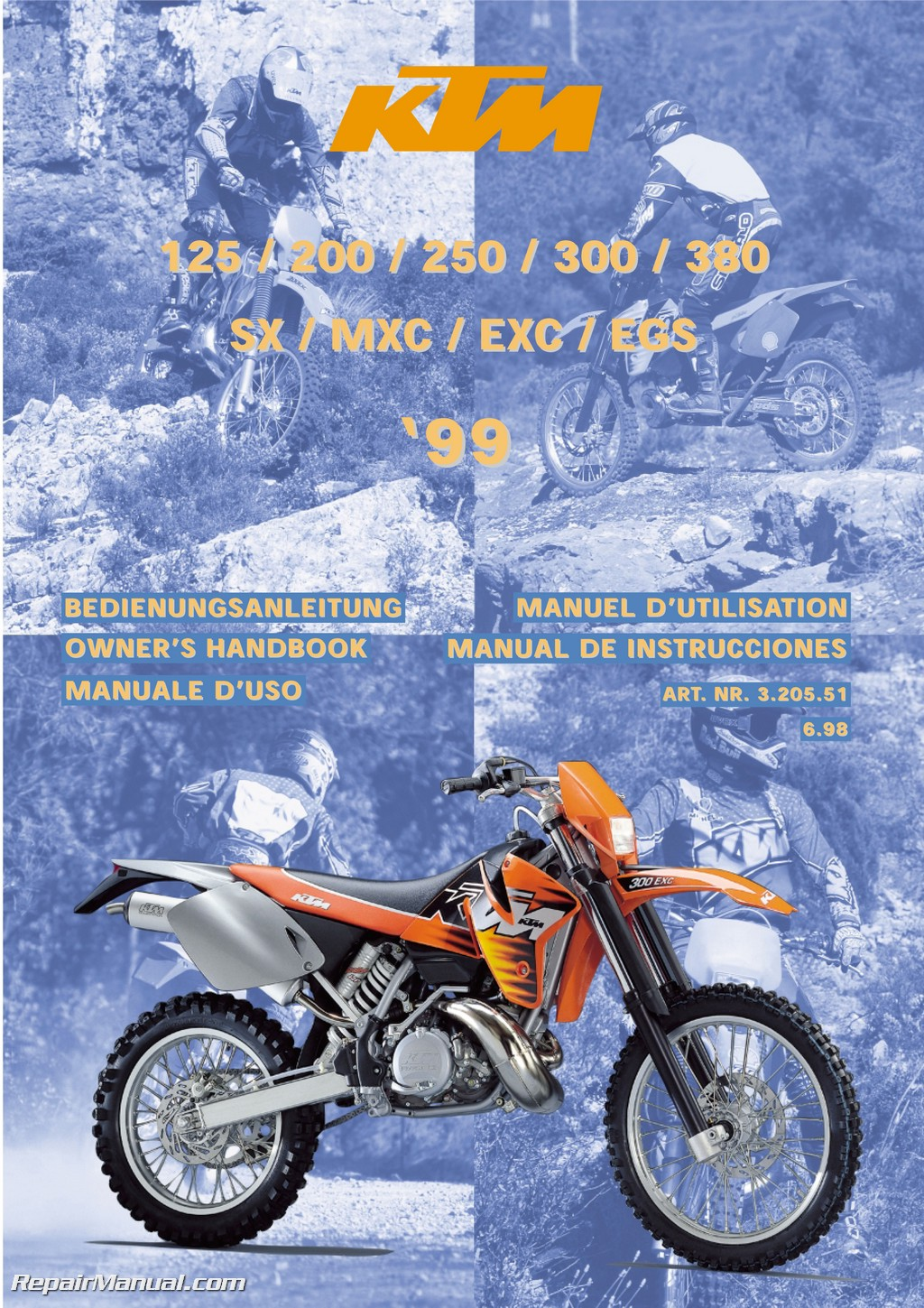 hight resolution of 1999 ktm 125 200 250 300 380 sx mxc exc egs motorcycle owners manual