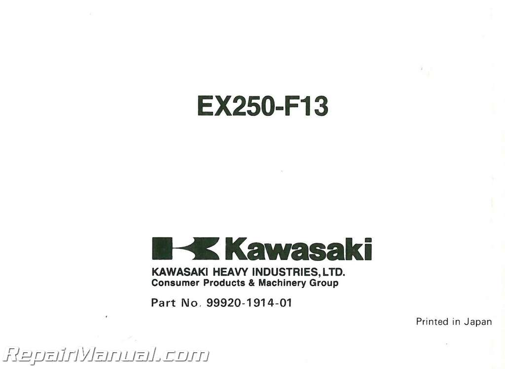1999 Kawasaki EX250-F13 Ninja Motorcycle Owners Manual