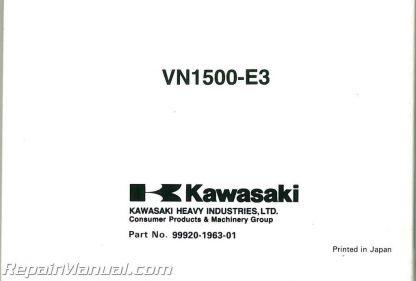 2000 Kawasaki 1500E3 Vulcan Classic Owners Manual