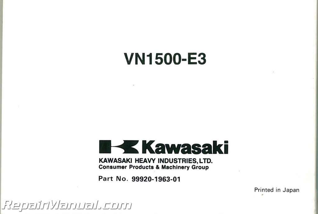 2000 Kawasaki 1500E3 Vulcan Classic Owners Manual