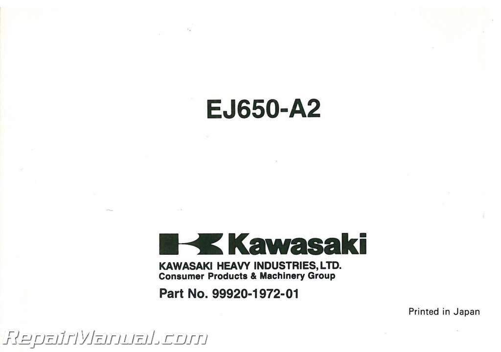 2000 Kawasaki EJ650 W650 Motorcycle Owners Manual