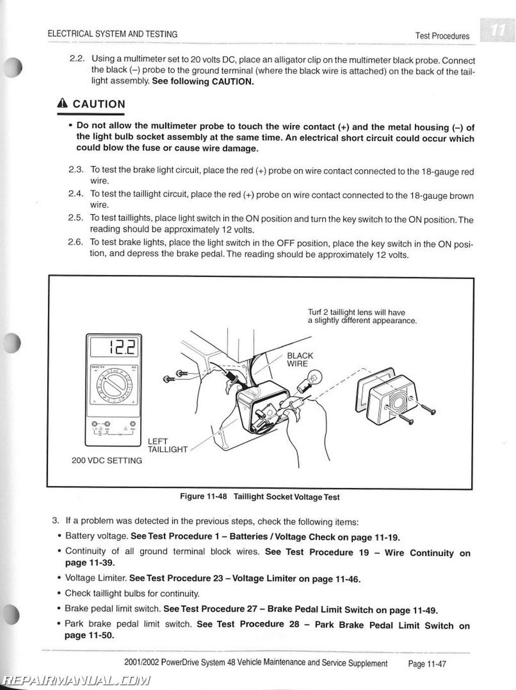 2001 club car wiring diagram clarion cz302 2002 powerdrive system 48 maintenance and