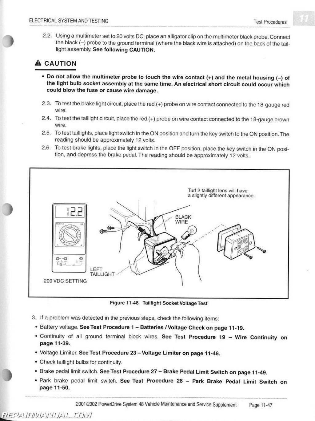 club car wiring diagram manual 2008 mitsubishi lancer 2001 2002 powerdrive system 48 maintenance and