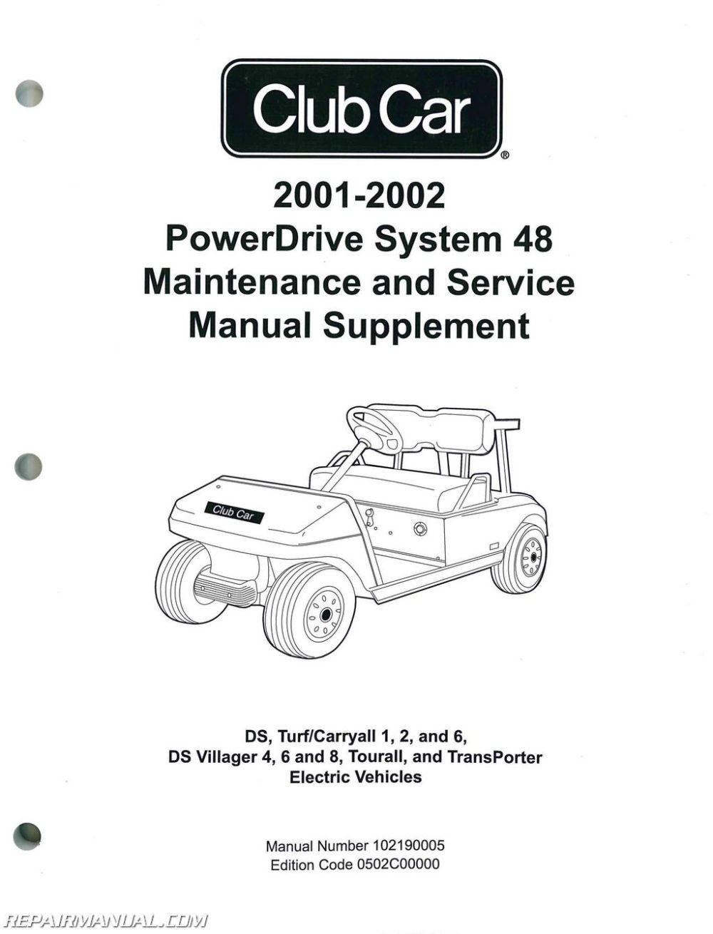 medium resolution of 2001 2002 club car powerdrive system 48 maintenance and service manual supplement jpg