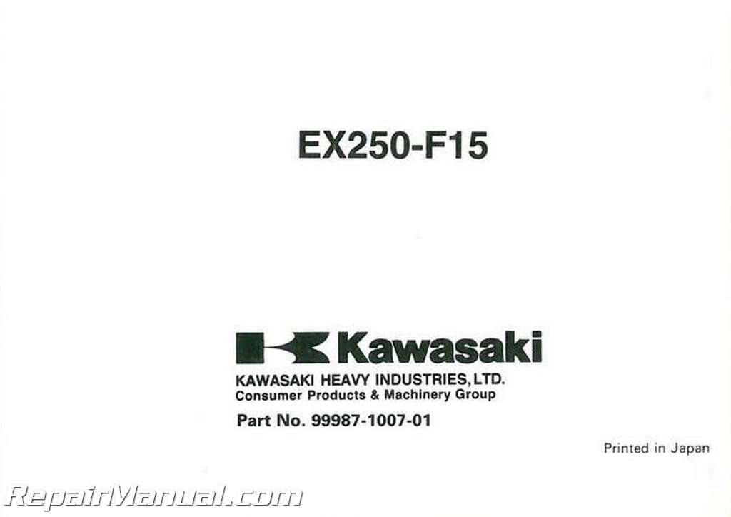2001 Kawasaki EX250-F15 Ninja Motorcycle Owners Manual