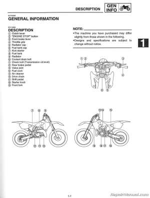 2001 Yamaha YZ125 Motorcycle Owners Service Manual