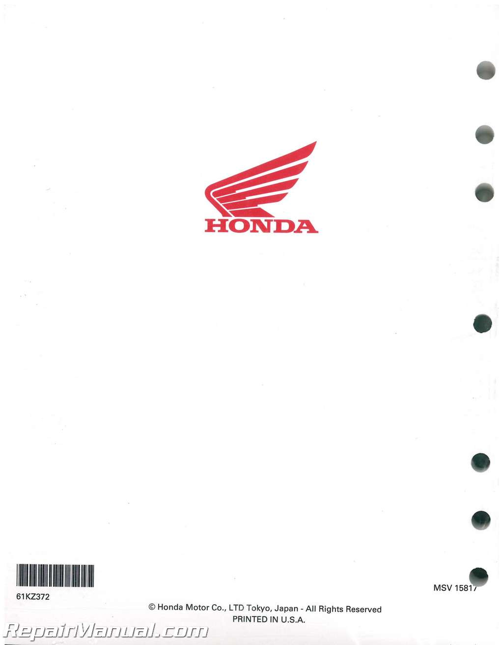 2002-2004 Honda CR250R Two Stroke Motorcycle Service Manual