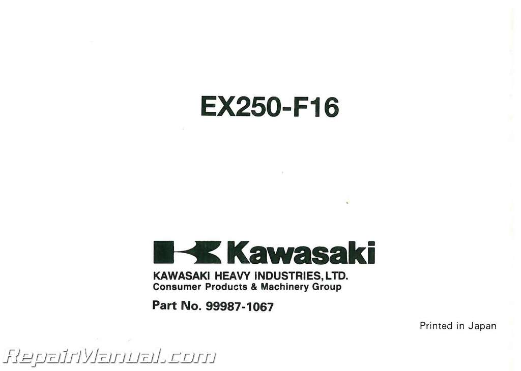 2002 Kawasaki EX250-F16 Ninja Motorcycle Owners Manual
