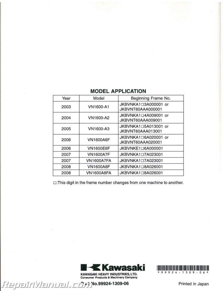 2003-2008 Kawasaki VN1600A E Service Manual