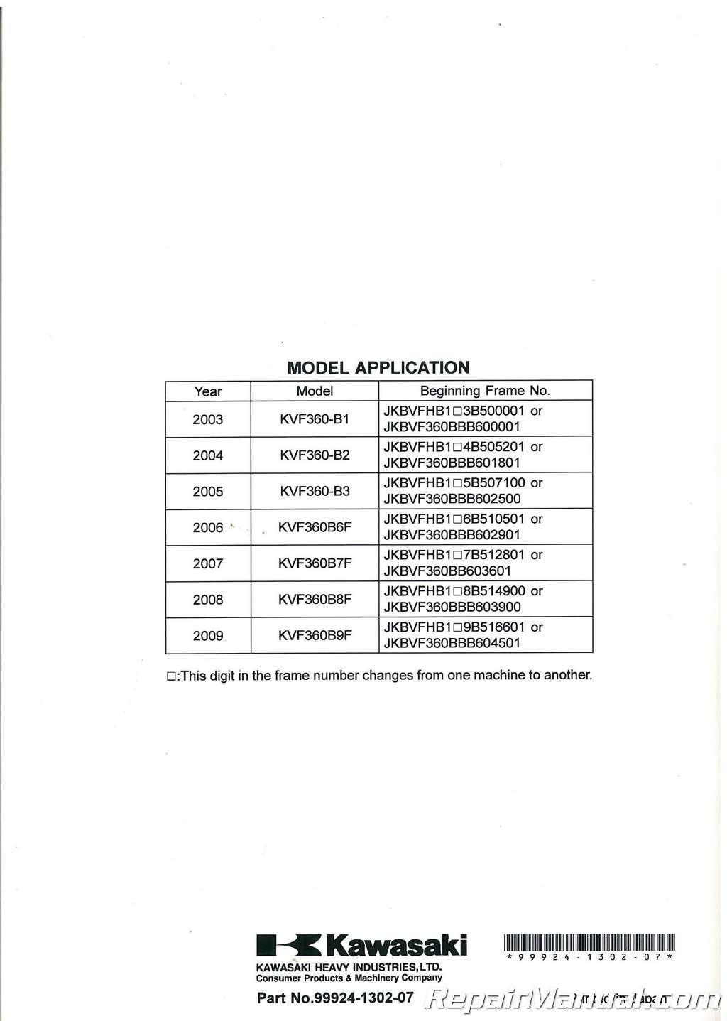 2003-2009 Kawasaki KVF360B Prairie ATV Service Manual