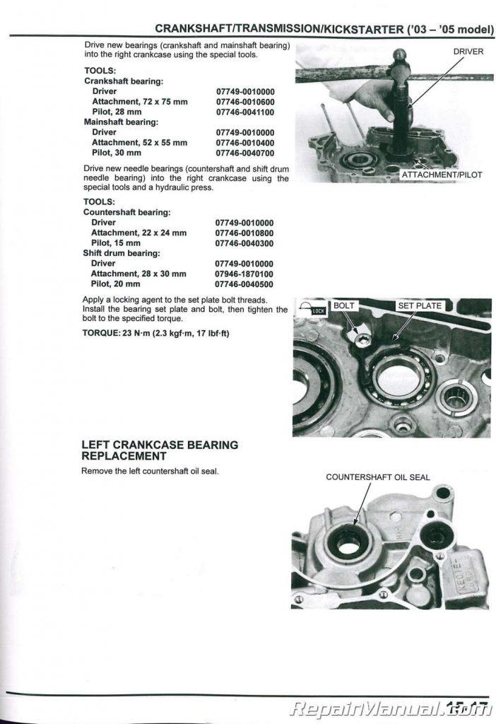 2003-2017 Honda CRF150F Motorcycle Service Manual