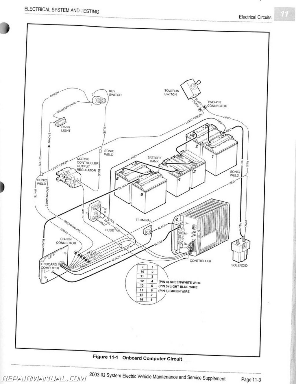 wiring diagram for club car golf cart transformer diagrams single phase mid 90s ds runs without key on